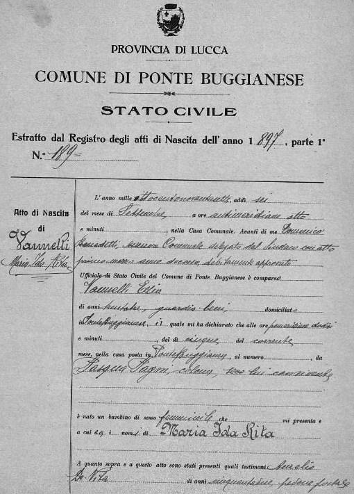 Atto di nascita Maria Ida Rita Vannelli